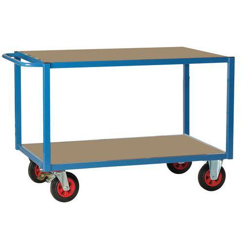 Carro de plataformas – 2 plataformas em madeira –rodas em borracha – capacidade de 500 kg – FIMM
