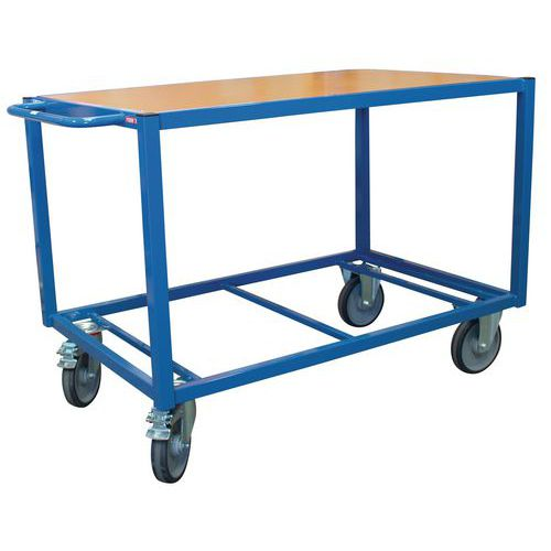 Carro de plataforma – 1 plataforma em madeira – rodas em borracha – capacidade de 500 kg – FIMM