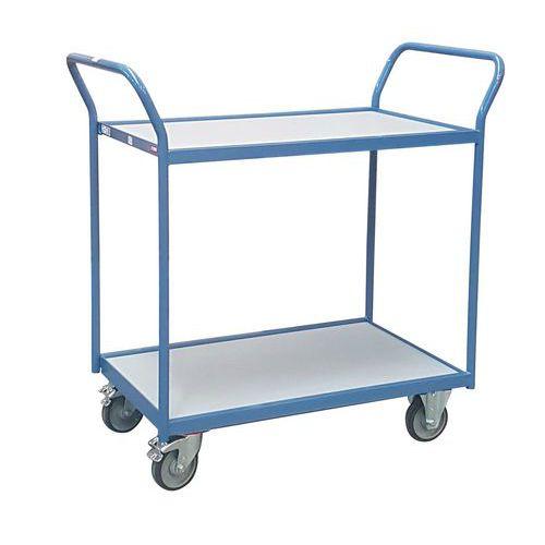 Carro de plataformas – 2 plataformas em madeira – rodas em borracha – capacidade de 250kg – FIMM