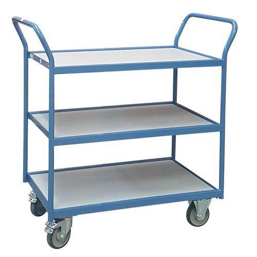 Carro de plataformas – 3 plataformas em madeira – rodas em borracha – capacidade de 250kg – FIMM