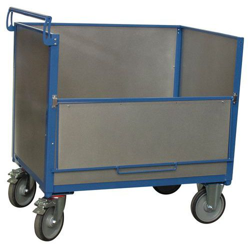 Carro-contentor em aço galvanizado sem tampa – 1 painel rebatível – capacidade de 500kg – FIMM