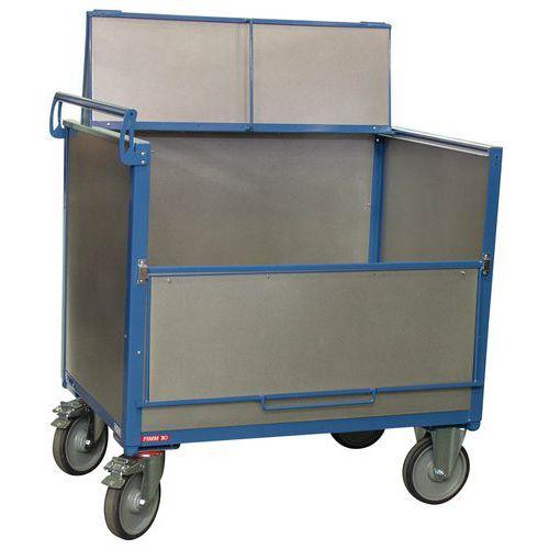Carro-contentor em aço galvanizado com tampa – 1 painel rebatível – capacidade de 500kg – FIMM