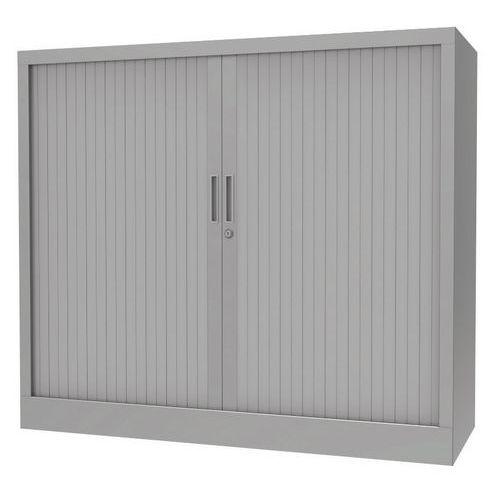 Armário com portas de persiana - Com plataforma superior - Cinzento alumínio