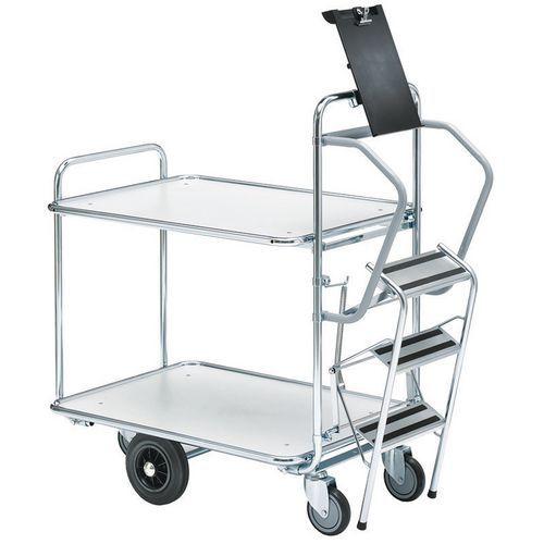 Carro para preparação de encomendas com escada – 2 plataformas – Capacidade de 300kg