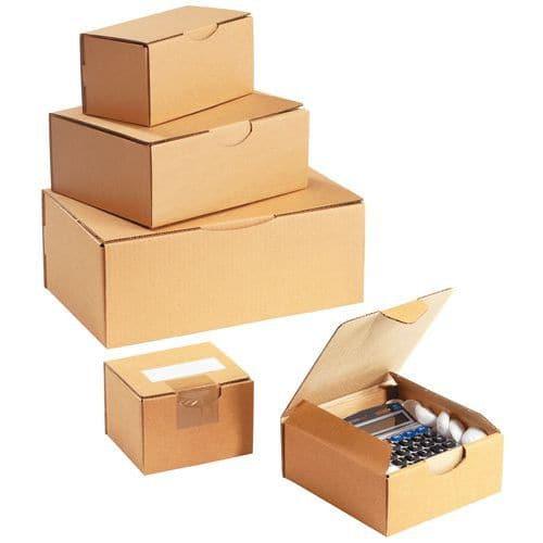 Caixa de expedição cartão kraft multiusos - Com lingueta - Castanho