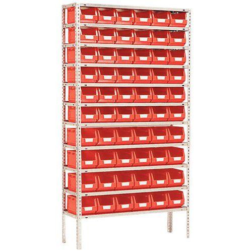 Estante equipada com caixas de bico Kangourou