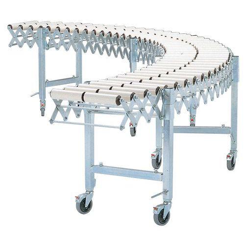 Transportador extensível e móvel - De rolos plásticos Ø 50 mm - Largura útil 500 mm