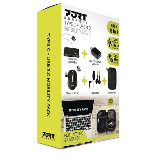 Conjunto de mobilidade com rato, auriculares, hub, conversor e estojo – Port Designs
