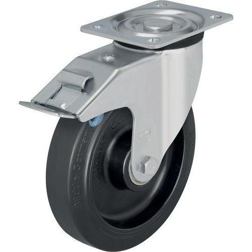 Roda giratória com base e travão - Capacidade de 200 a 400 kg