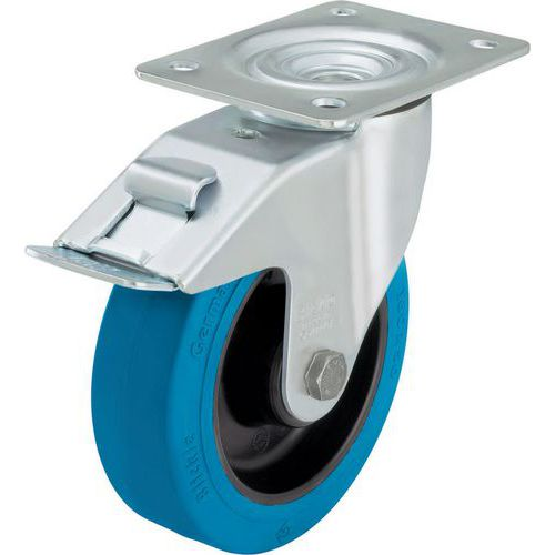 Rodízio giratório com placa e travão - Capacidade de 150 a 300 kg