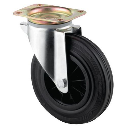 Rodízio giratório com placa - Capacidade de 135 a 205 kg