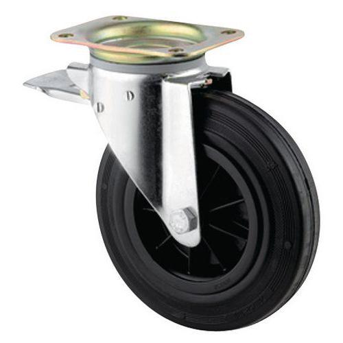Rodízio giratório com placa e travão - Capacidade de 1350 a 205 kg