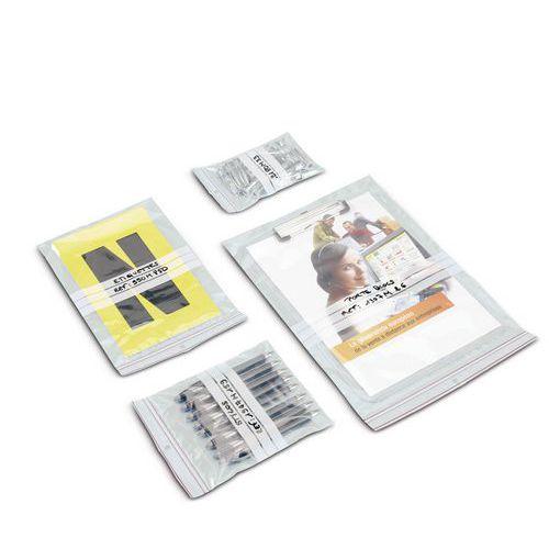 Saqueta plástica Minigrip® 60 mícrones - Com faixas brancas - Com orifício de ventilação