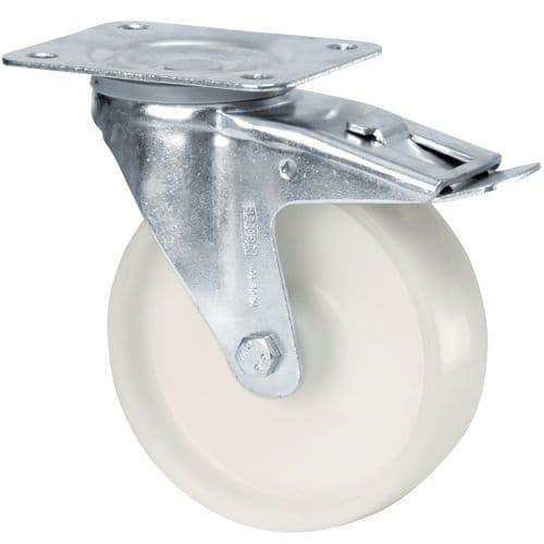 Roda giratória com base e travão - Capacidade de 80 a 200 kg
