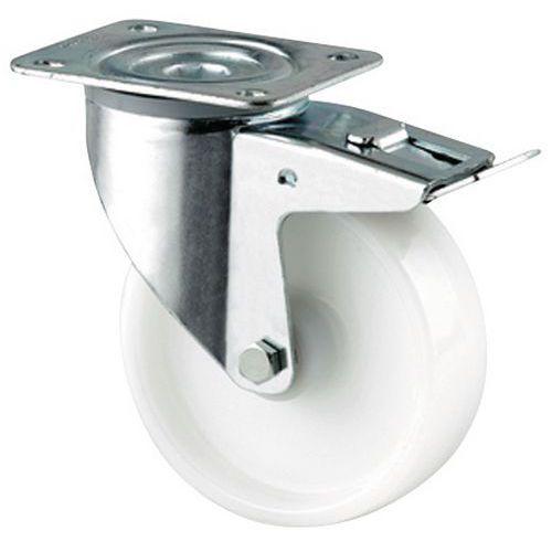 Rodízio giratório com placa e travão - Capacidade de 350 kg maxi