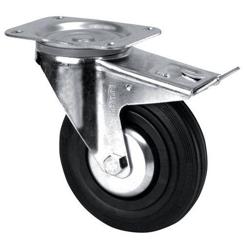 Rodízio giratório com placa e travão - Capacidade de 70 a 200 kg