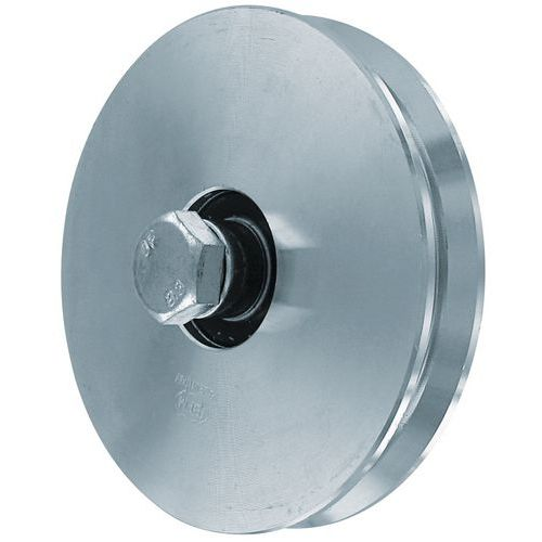 Roda em aço zincado com sulco em V - Capacidade de carga de 150 a 200 kg