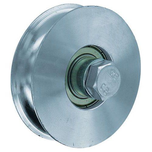 Roda em aço zincado com sulco redondo - Capacidade de carga de 200 a 400 kg
