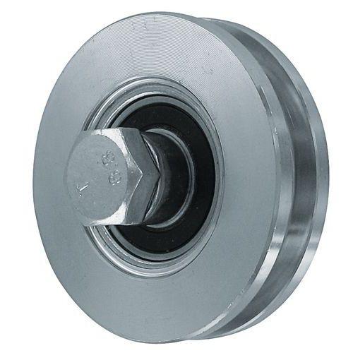 Roda em aço zincado com sulco retangular - Capacidade de carga de 150 a 425 kg