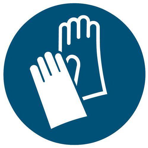 Painel de obrigação - Uso de luvas de segurança obrigatório - Rígido