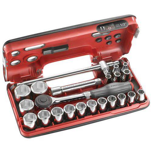 Caixa com chave de roquete de cabo rotativo S.360 + chaves de caixa 1/2'' sextavadas – 21 peças