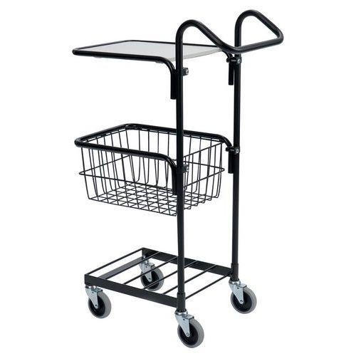 Carro pequeno preto com tampo e cesto – capacidade: 50kg