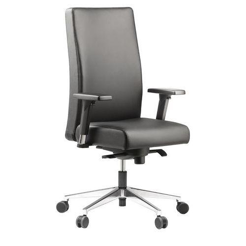 Cadeira de executivo com espaldar alto em couro preto Bost – Sokoa
