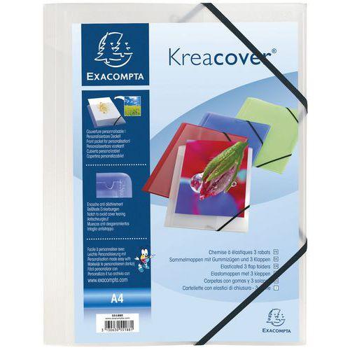 Pasta com elásticos e 3 abas Kreacover® – A4, transparente – Exacompta
