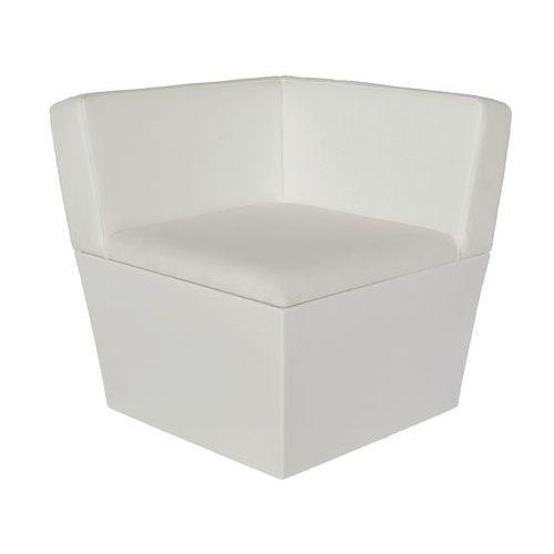 Assento de canto Conic Lounge com base e assento – imitação de couro branco