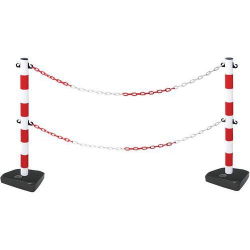 Poste com corrente dupla e base – kit de 2 postes – Manutan