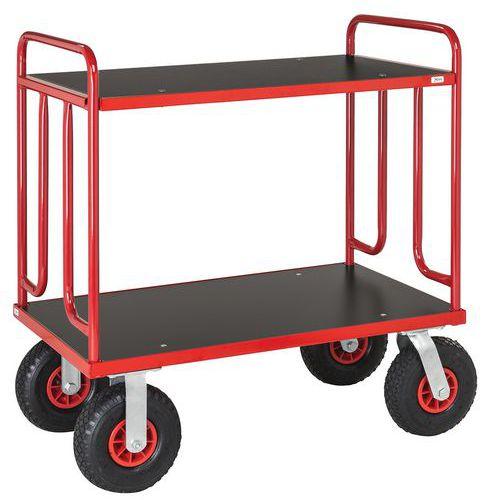 Carro de plataformas em madeira – 2 plataformas – Capacidade: 500kg – Rodas pneumáticas