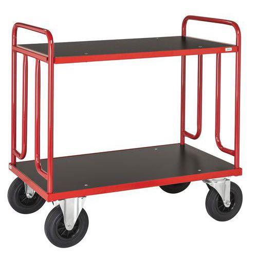 Carro de plataformas em madeira – 2 plataformas – Capacidade: 500kg – Rodas em borracha