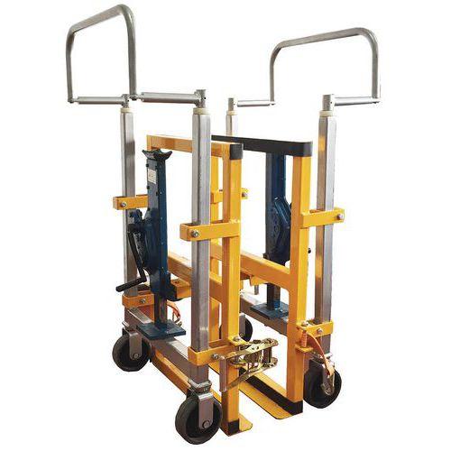 Porta-cargas empilhadores geminados hidráulicos - Capacidade de 1800 kg