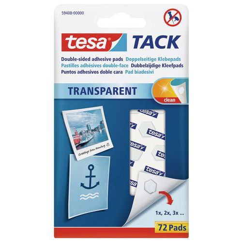 Pastilha adesiva transparente de dupla face Tesa® – estojo de 72