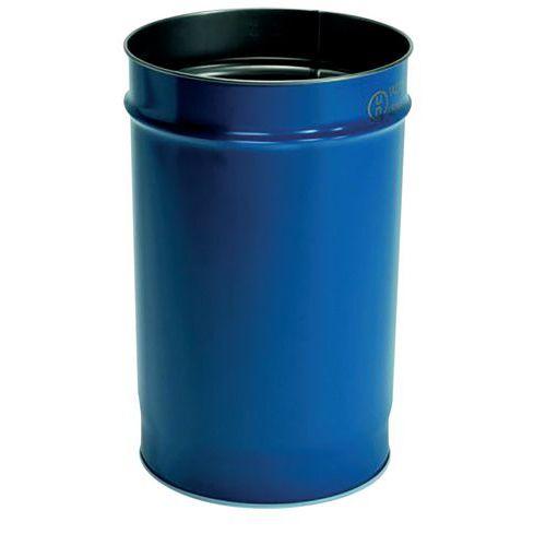 Bidão de aço, 60L, azul, com abertura total e interior envernizado