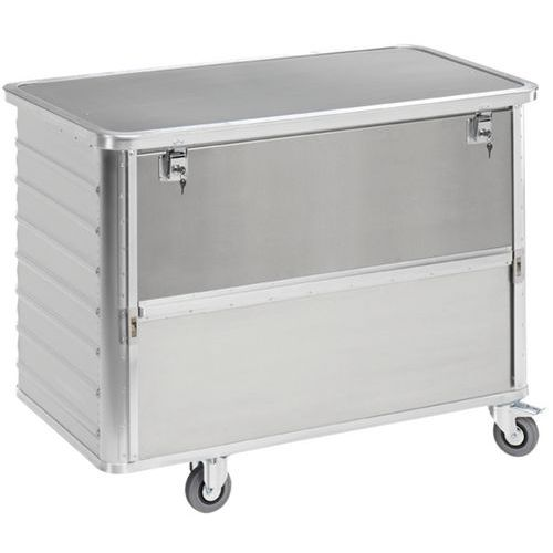 Carro-contentor em alumínio – painel deslizante – Capacidade de 355L a 650L