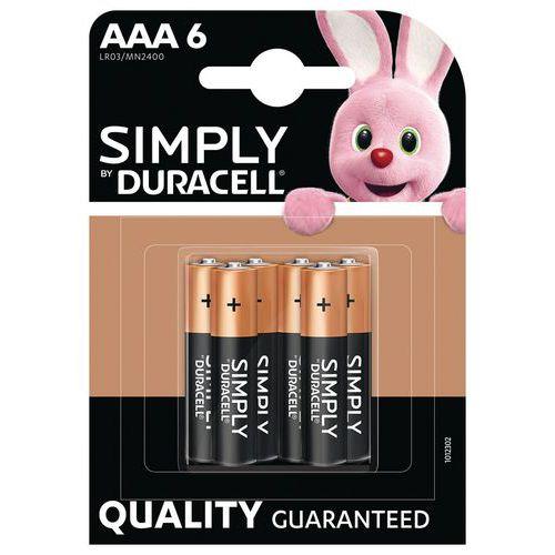 Pilha alcalina Simply AAA LR3 – conjunto de 6 – Duracell