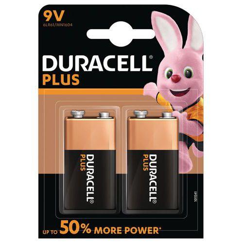 Pilha alcalina Duracell Plus Power 6LR61 de 9 V – conjunto de 2