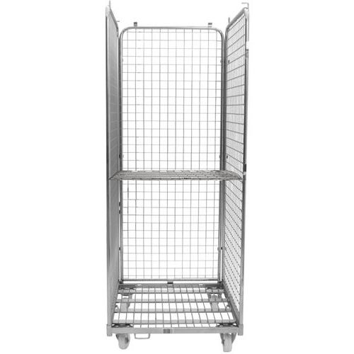 Contentor móvel em aço com 3 lados e 1 prateleira – capacidade de 400kg – Manutan