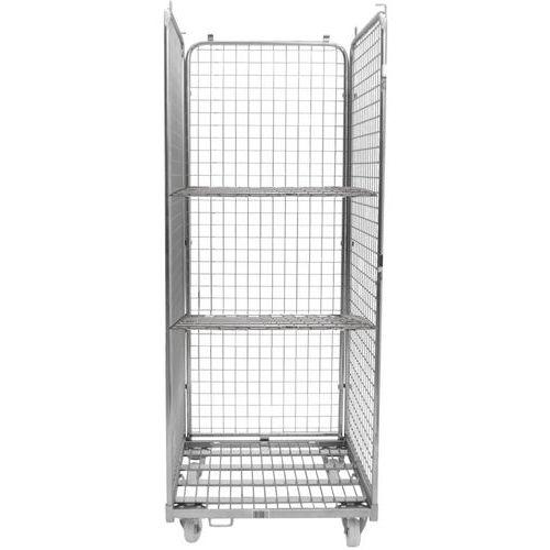 Contentor móvel em aço com 3 lados e 2 prateleira – capacidade de 400kg – Manutan