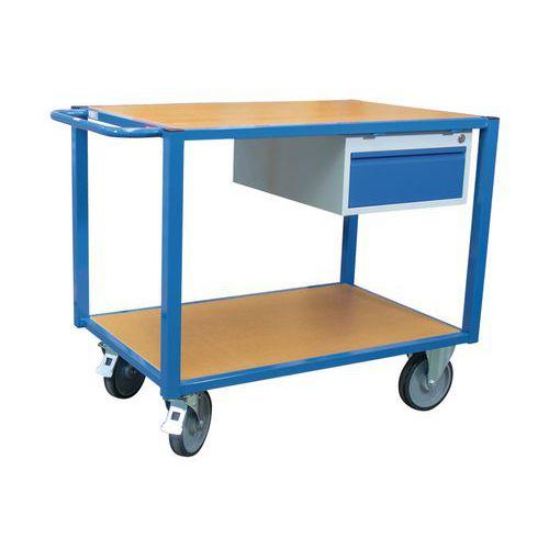 Carro de oficina – 2 plataformas em madeira e 1 gaveta – capacidade de 500 kg – FIMM