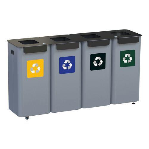 Conjunto de caixotes para reciclagem modulares em metal