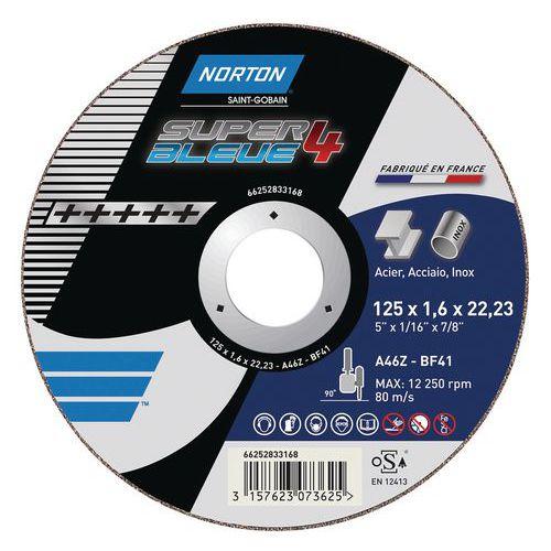 Disco de corte plano Norton SUPER BLEUE 4-METAL