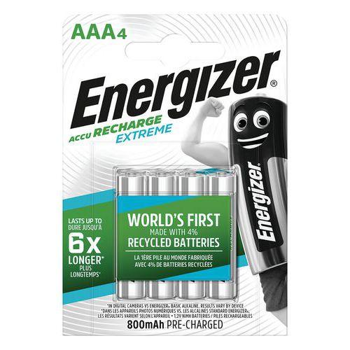 Pilha recarregável reciclada Extreme – AAA/LR03 – conjunto de 4 – Energizer
