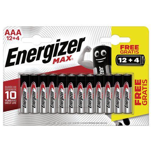 Pilha Max AAA/LR03 – conjunto de 12+4 – Energizer