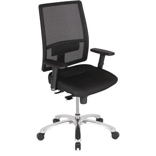 Cadeira de escritório Bizzi com apoios para braços 3D – espaldar em malha – preto – Nowystyl