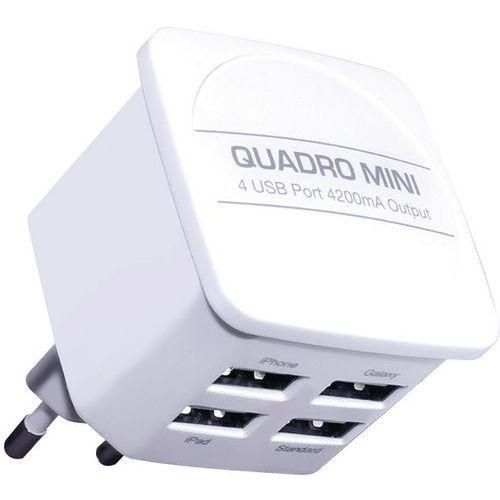 Carregador de rede elétrica com 4 entradas USB – Branco – Moxie
