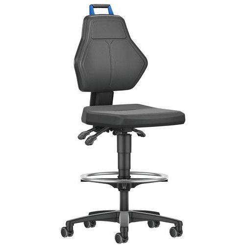 Cadeira de oficina alta com rodízios de bloqueio automático – Manutan
