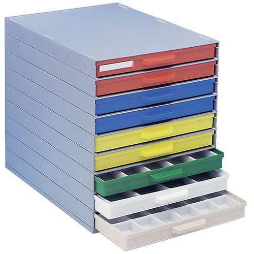 Bloco de gavetas em plataforma – Diversas cores