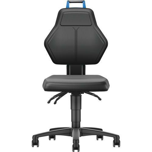 Cadeira de oficina – Baixa com rodízios em imitação de couro – Manutan